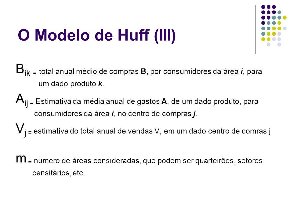 O Modelo de Huff (III) Bik = total anual médio de compras B, por consumidores da área i, para. um dado produto k.