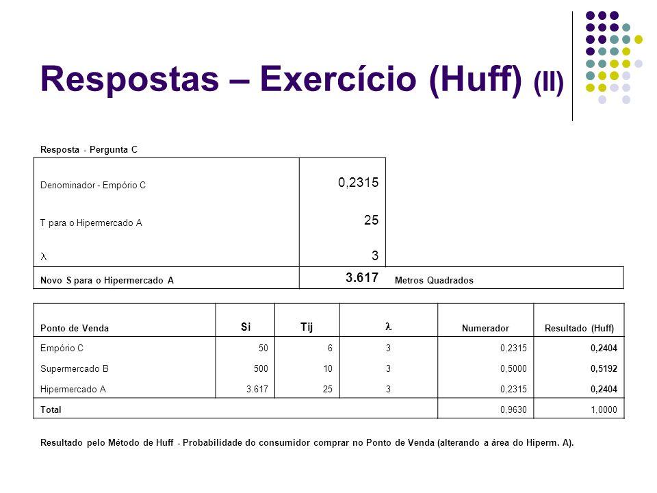Respostas – Exercício (Huff) (II)