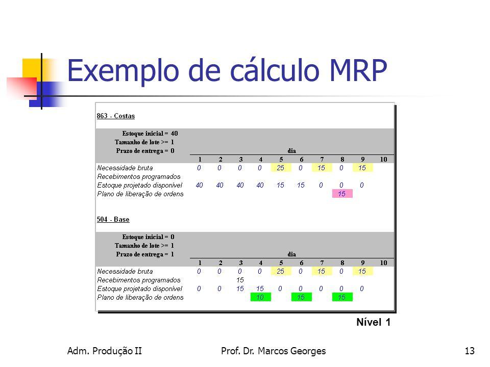 Exemplo de cálculo MRP Nível 1 Adm. Produção II