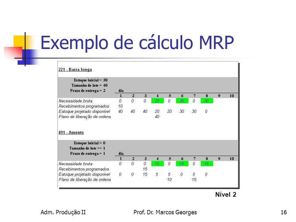 Exemplo de cálculo MRP Nível 2 Adm. Produção II