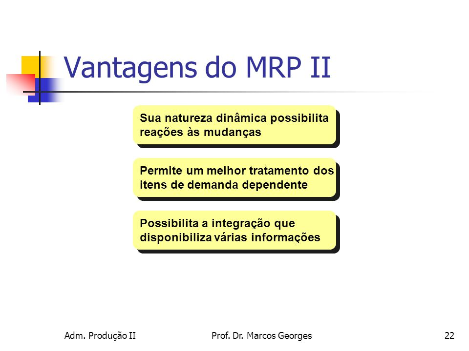 Vantagens do MRP II Sua natureza dinâmica possibilita