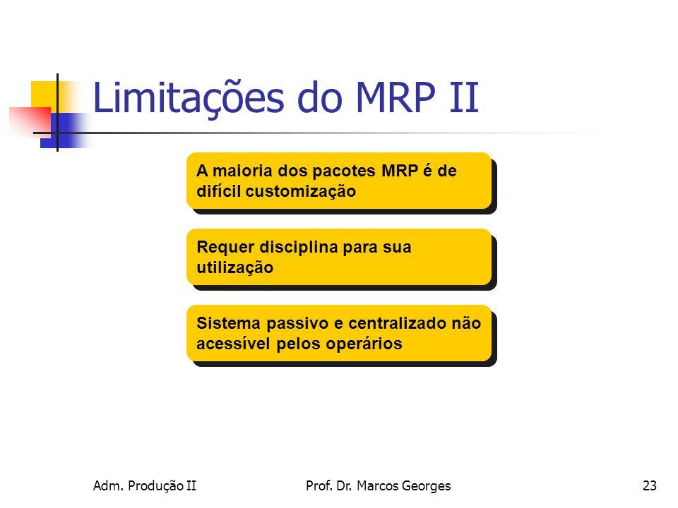Limitações do MRP II A maioria dos pacotes MRP é de