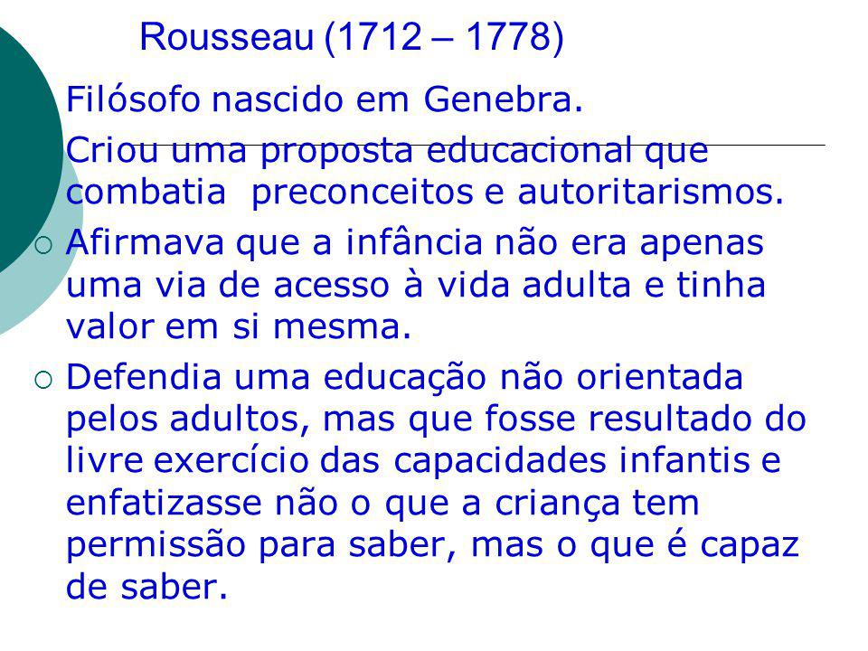 Rousseau (1712 – 1778) Filósofo nascido em Genebra.