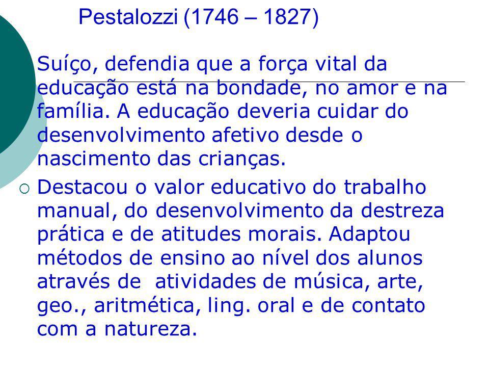Pestalozzi (1746 – 1827)