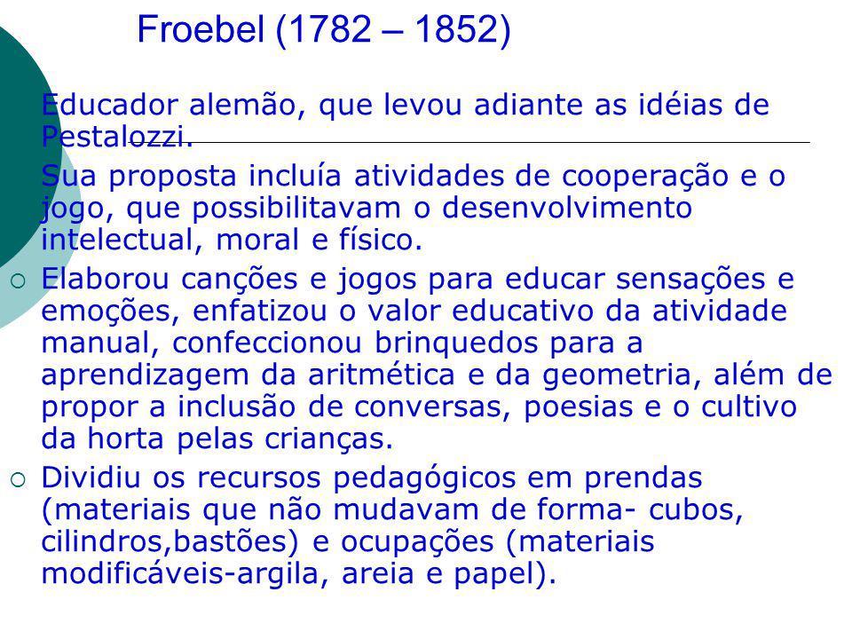 Froebel (1782 – 1852) Educador alemão, que levou adiante as idéias de Pestalozzi.
