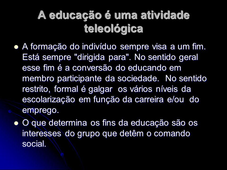A educação é uma atividade teleológica