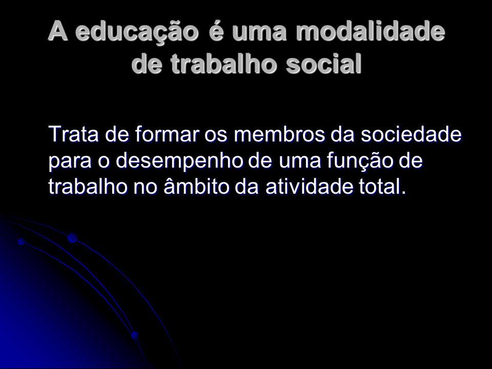 A educação é uma modalidade de trabalho social