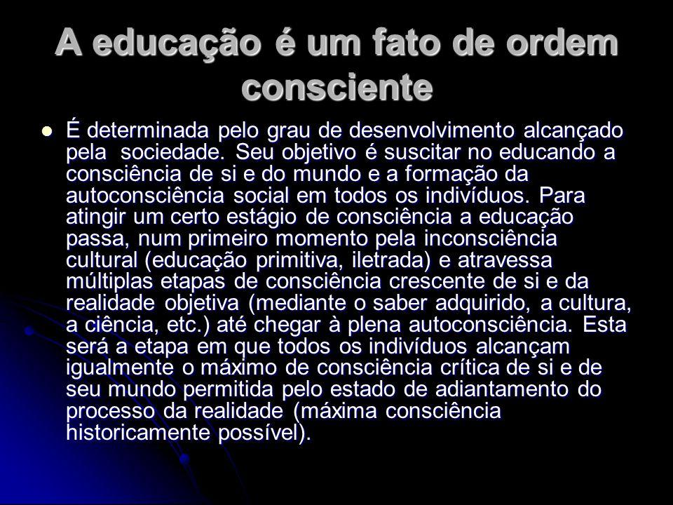 A educação é um fato de ordem consciente