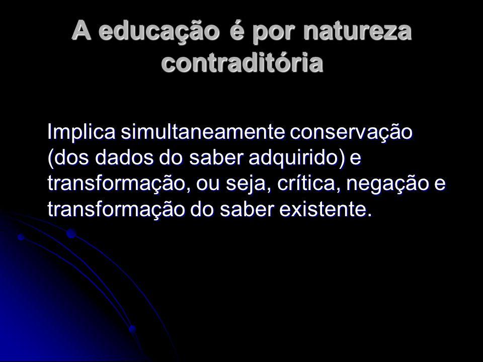 A educação é por natureza contraditória
