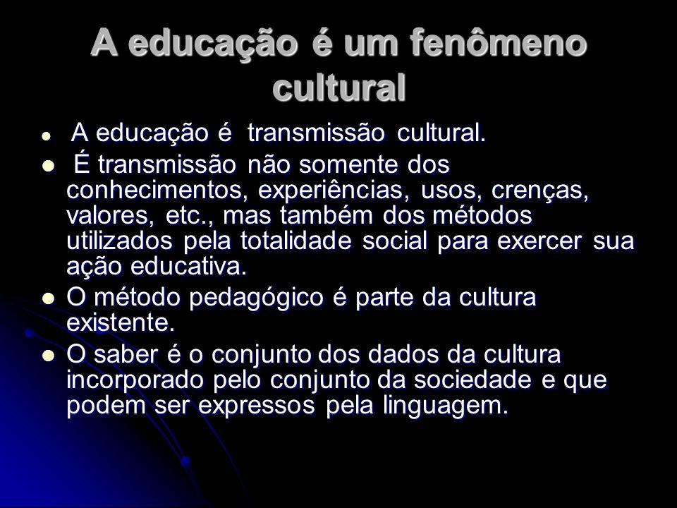 A educação é um fenômeno cultural