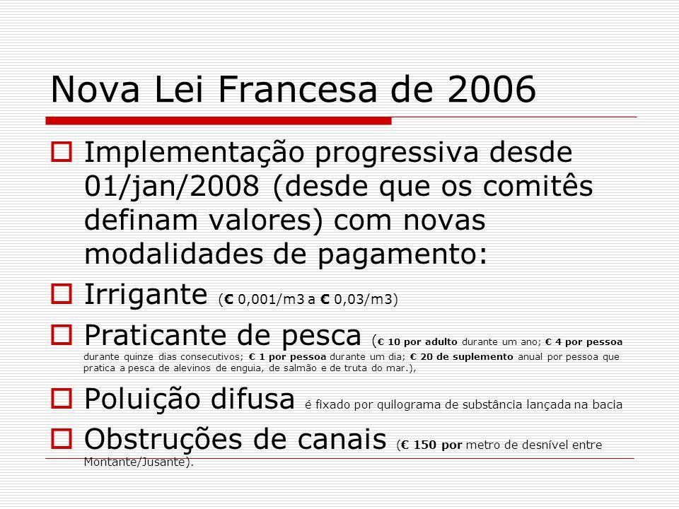 Nova Lei Francesa de 2006 Implementação progressiva desde 01/jan/2008 (desde que os comitês definam valores) com novas modalidades de pagamento: