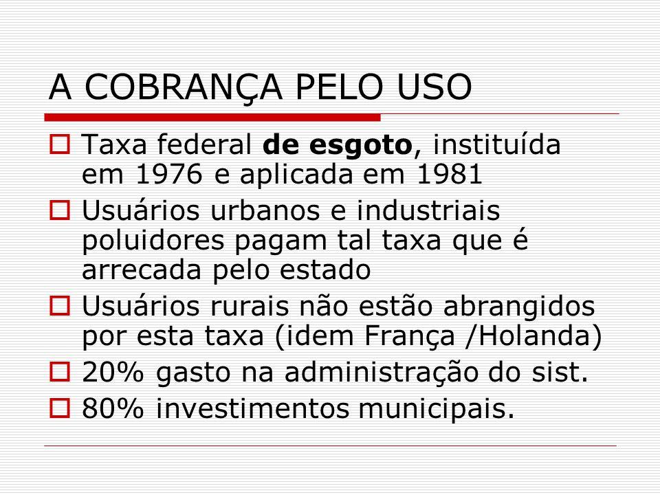 A COBRANÇA PELO USO Taxa federal de esgoto, instituída em 1976 e aplicada em 1981.