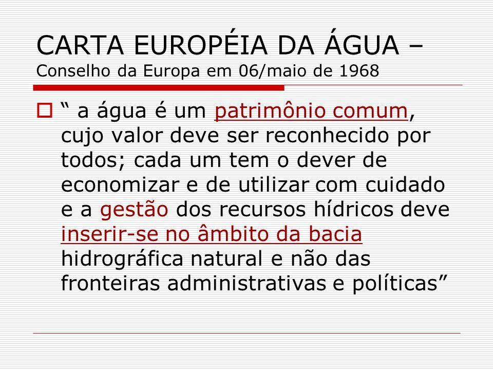 CARTA EUROPÉIA DA ÁGUA – Conselho da Europa em 06/maio de 1968