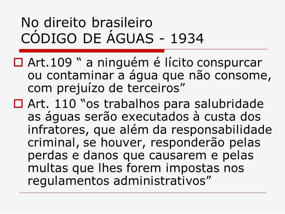 No direito brasileiro CÓDIGO DE ÁGUAS - 1934