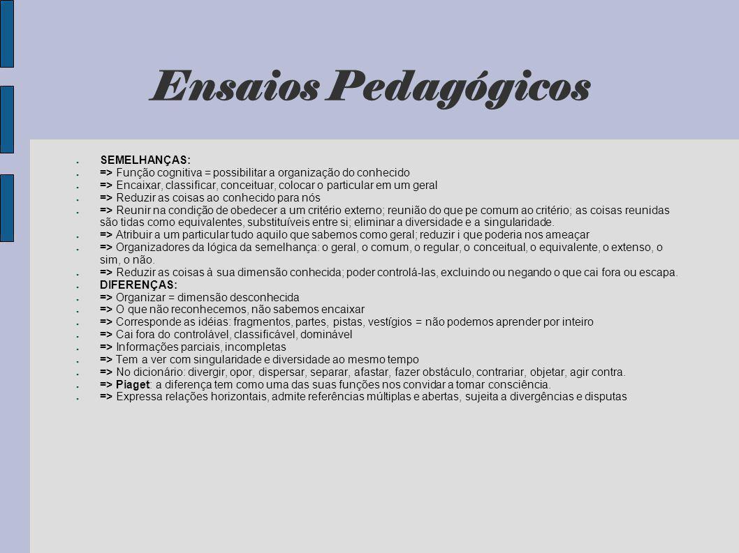 Ensaios Pedagógicos SEMELHANÇAS: