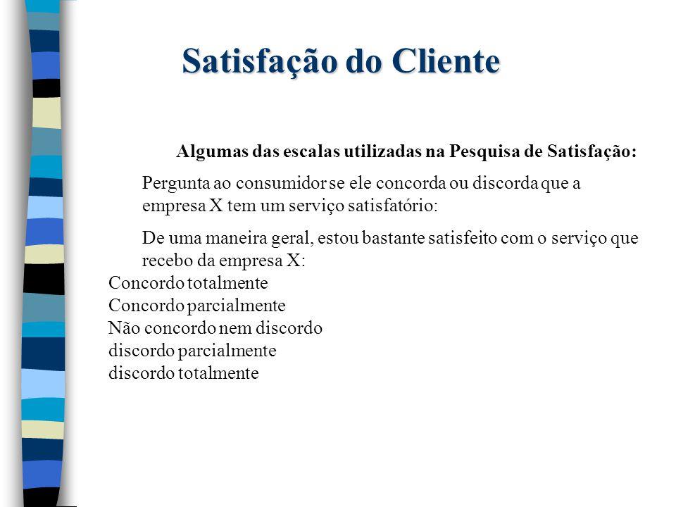 Satisfação do Cliente Algumas das escalas utilizadas na Pesquisa de Satisfação: