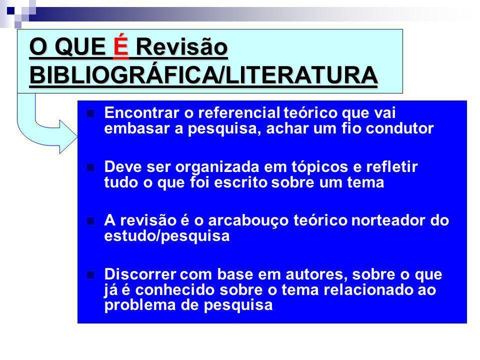 O QUE É Revisão BIBLIOGRÁFICA/LITERATURA