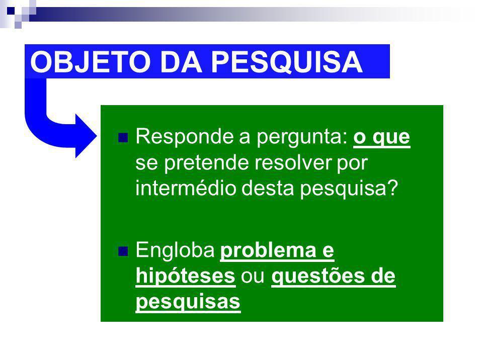 OBJETO DA PESQUISA Responde a pergunta: o que se pretende resolver por intermédio desta pesquisa