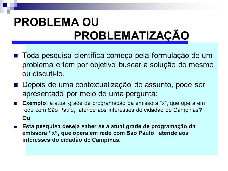 PROBLEMA OU PROBLEMATIZAÇÃO