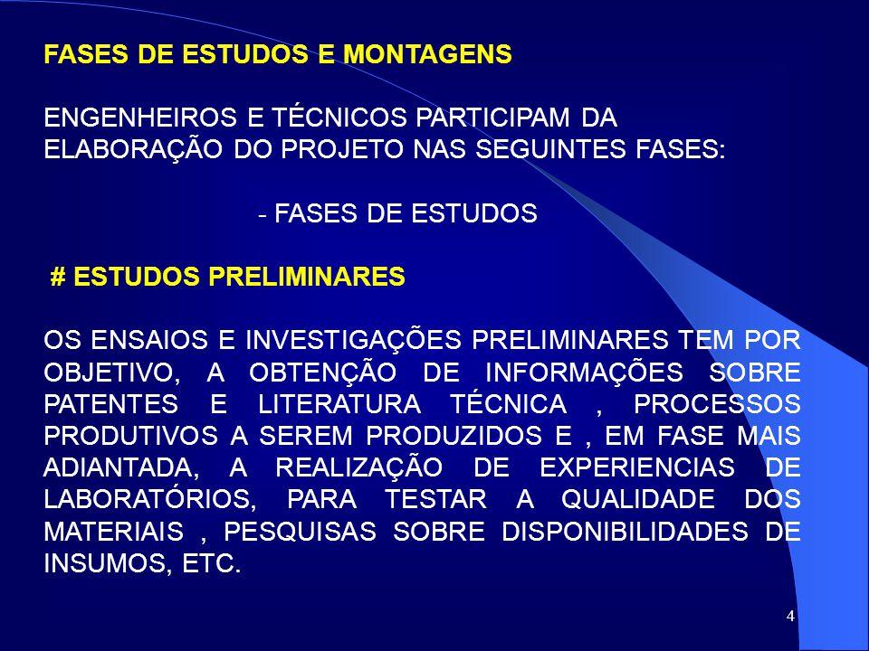 FASES DE ESTUDOS E MONTAGENS