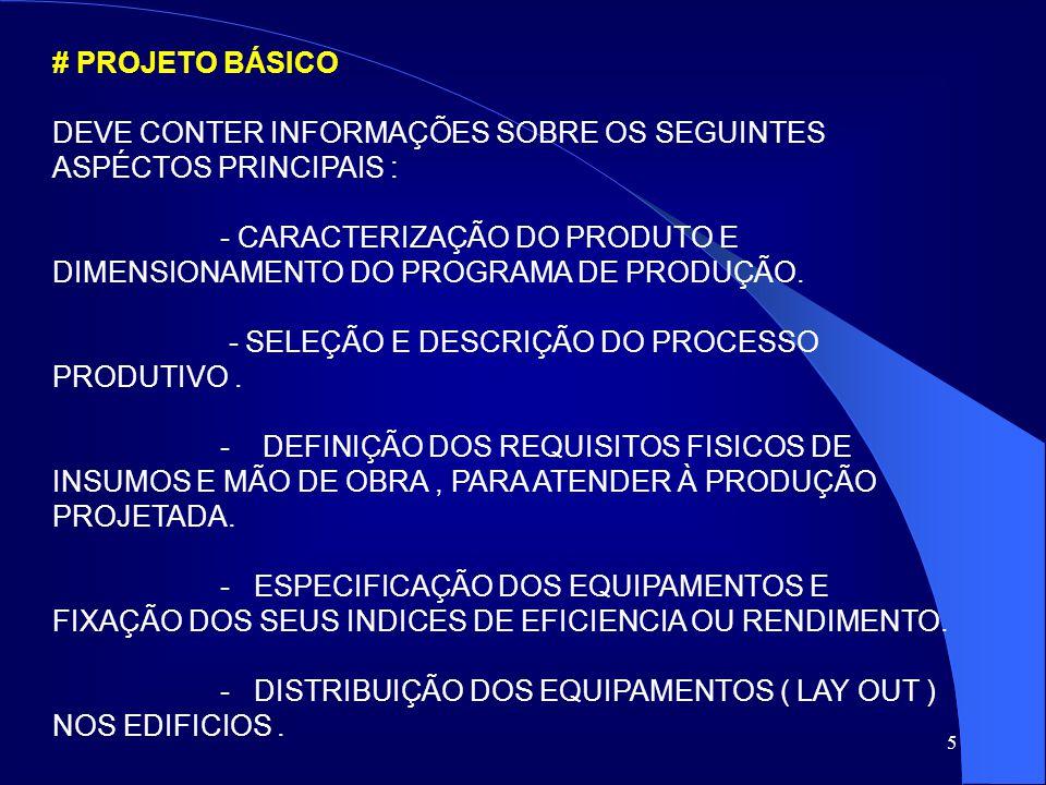 # PROJETO BÁSICO DEVE CONTER INFORMAÇÕES SOBRE OS SEGUINTES ASPÉCTOS PRINCIPAIS :
