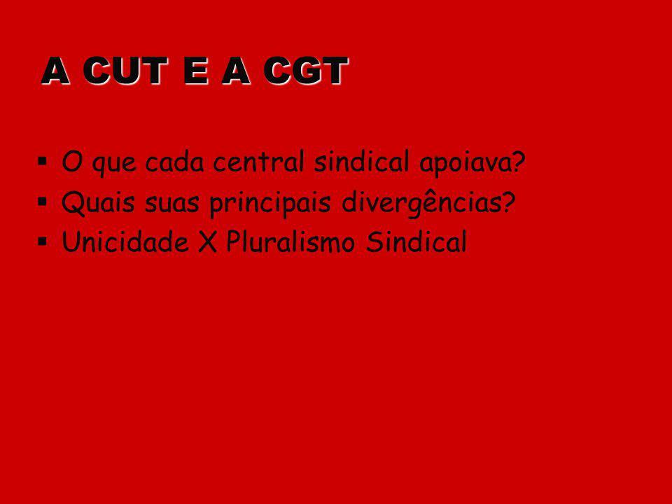 A CUT E A CGT O que cada central sindical apoiava