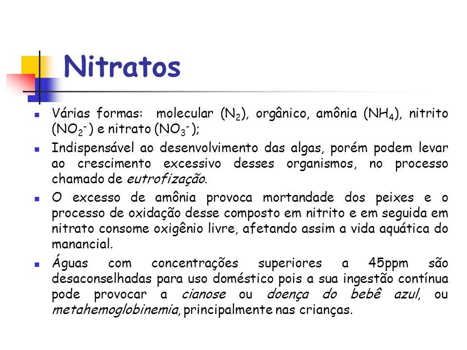 Nitratos Várias formas: molecular (N2), orgânico, amônia (NH4), nitrito (NO2- ) e nitrato (NO3- );