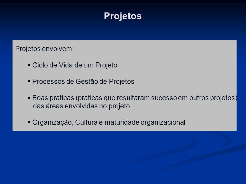Projetos Projetos envolvem: Ciclo de Vida de um Projeto