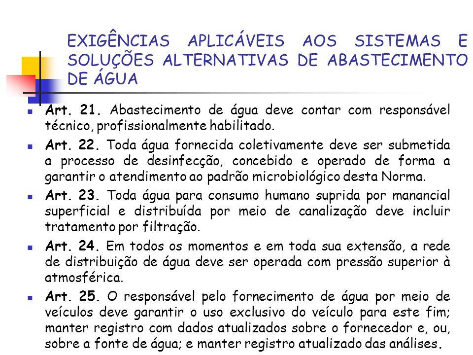 EXIGÊNCIAS APLICÁVEIS AOS SISTEMAS E SOLUÇÕES ALTERNATIVAS DE ABASTECIMENTO DE ÁGUA