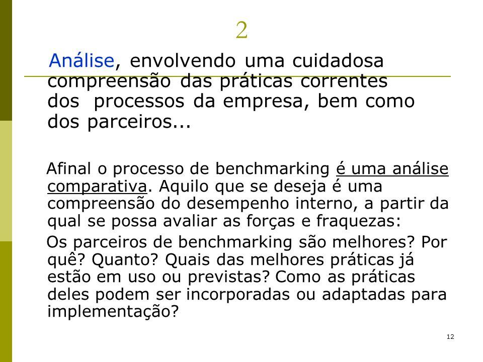 2 Análise, envolvendo uma cuidadosa compreensão das práticas correntes dos processos da empresa, bem como dos parceiros...