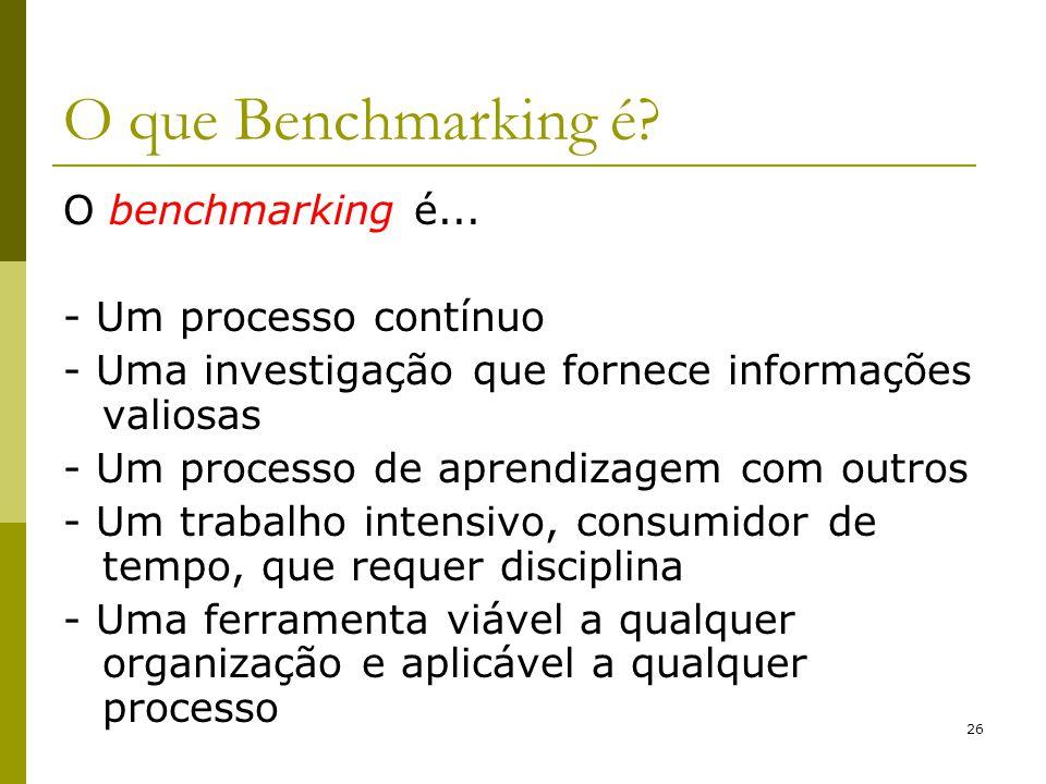 O que Benchmarking é O benchmarking é... - Um processo contínuo