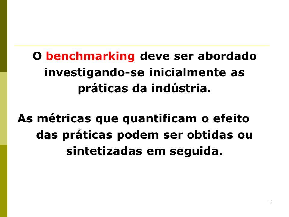 O benchmarking deve ser abordado investigando-se inicialmente as