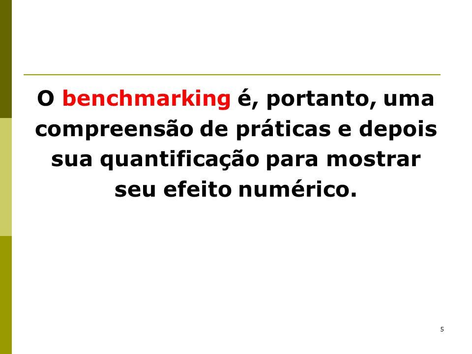 O benchmarking é, portanto, uma compreensão de práticas e depois