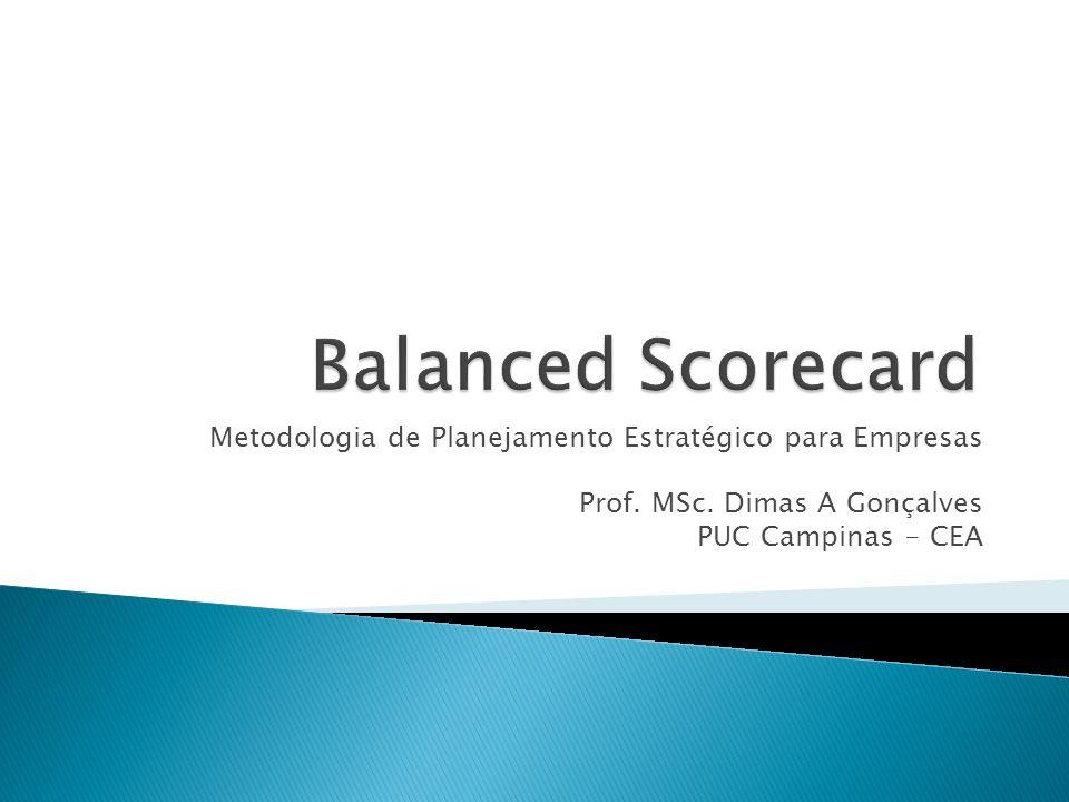 Balanced Scorecard Metodologia de Planejamento Estratégico para Empresas. Prof. MSc. Dimas A Gonçalves.