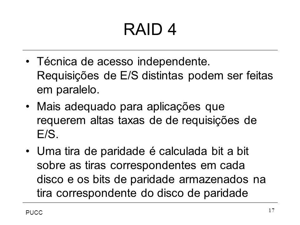 RAID 4 Técnica de acesso independente. Requisições de E/S distintas podem ser feitas em paralelo.