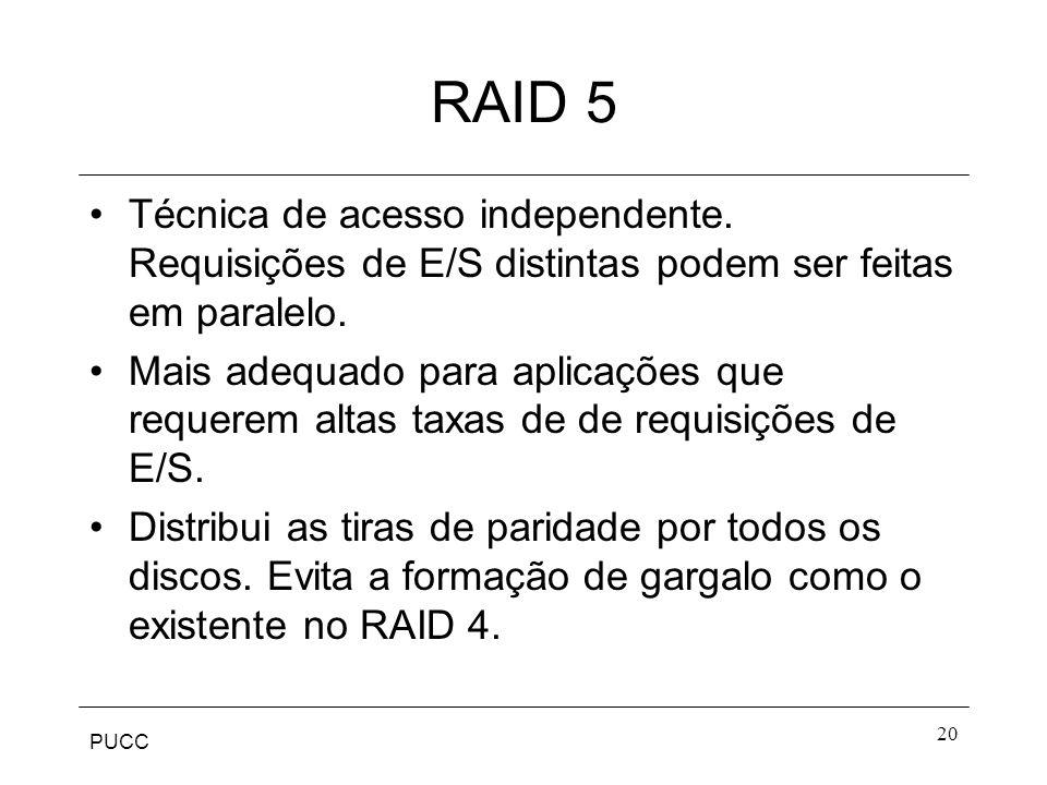 RAID 5 Técnica de acesso independente. Requisições de E/S distintas podem ser feitas em paralelo.
