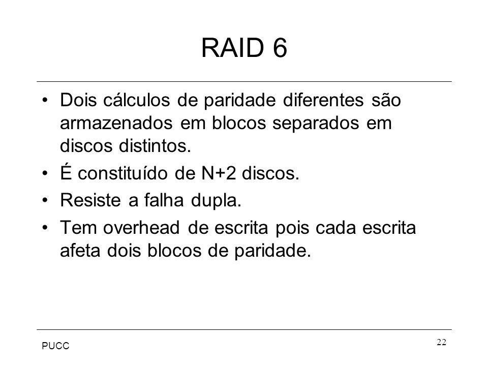 RAID 6 Dois cálculos de paridade diferentes são armazenados em blocos separados em discos distintos.