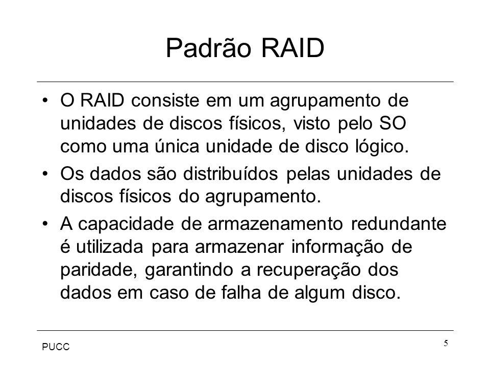 Padrão RAID O RAID consiste em um agrupamento de unidades de discos físicos, visto pelo SO como uma única unidade de disco lógico.