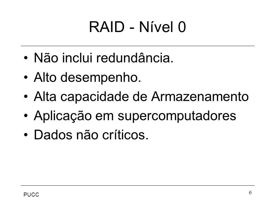 RAID - Nível 0 Não inclui redundância. Alto desempenho.