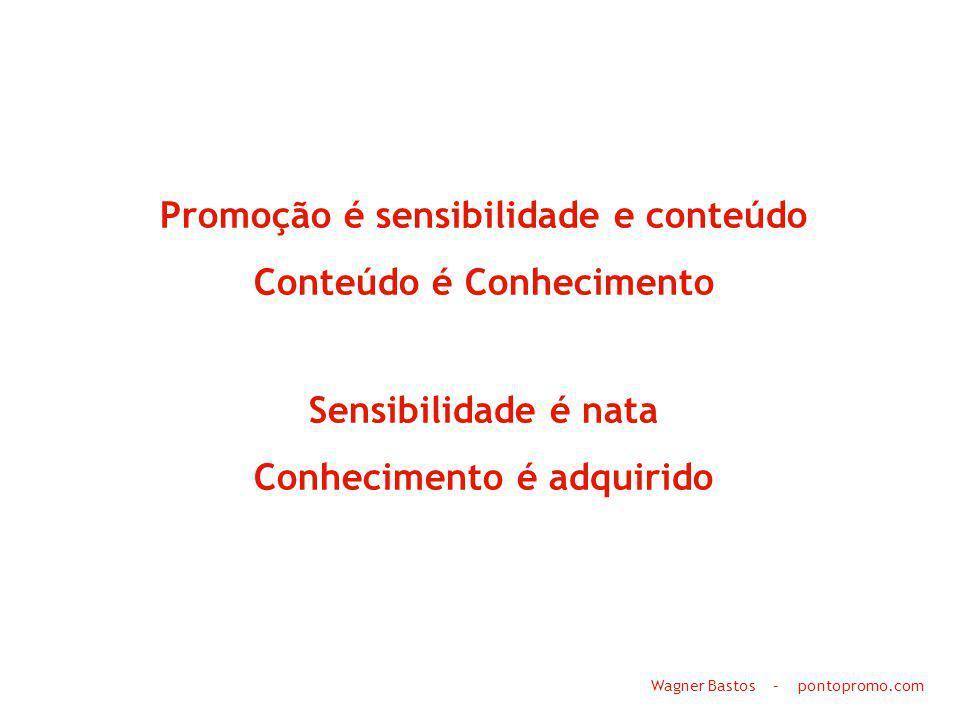 Promoção é sensibilidade e conteúdo Conteúdo é Conhecimento