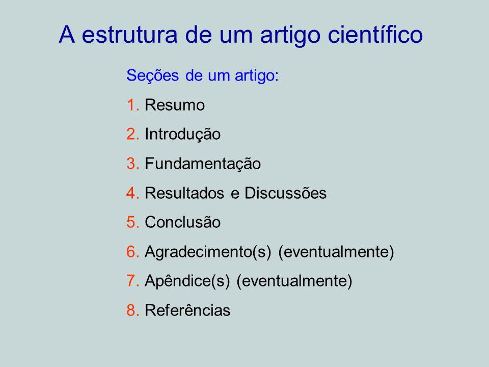 A estrutura de um artigo científico