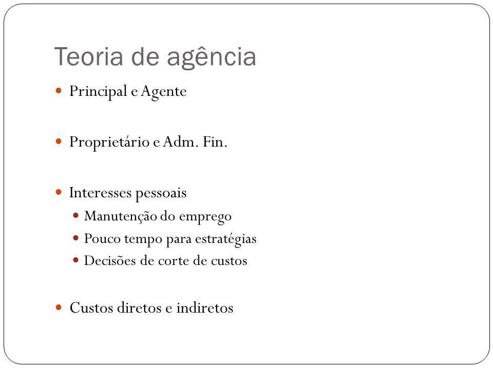 Teoria de agência Principal e Agente Proprietário e Adm. Fin.
