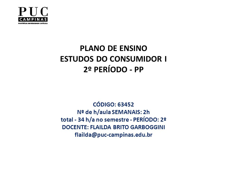 PLANO DE ENSINO ESTUDOS DO CONSUMIDOR I 2º PERÍODO - PP