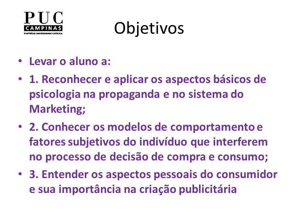 Objetivos Levar o aluno a: