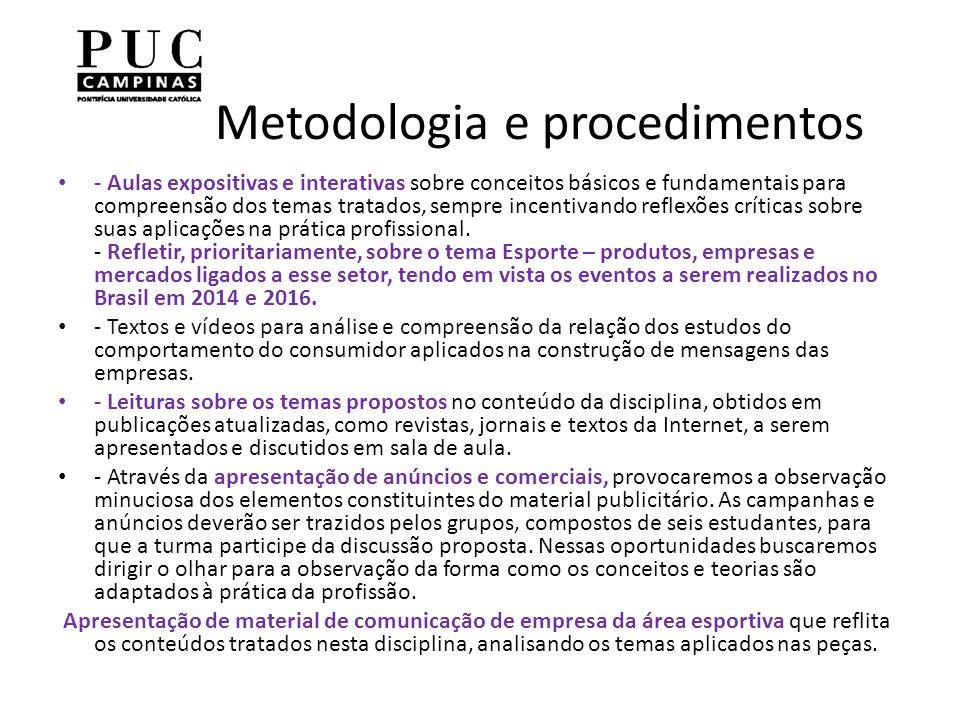 Metodologia e procedimentos