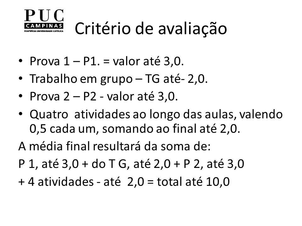 Critério de avaliação Prova 1 – P1. = valor até 3,0.