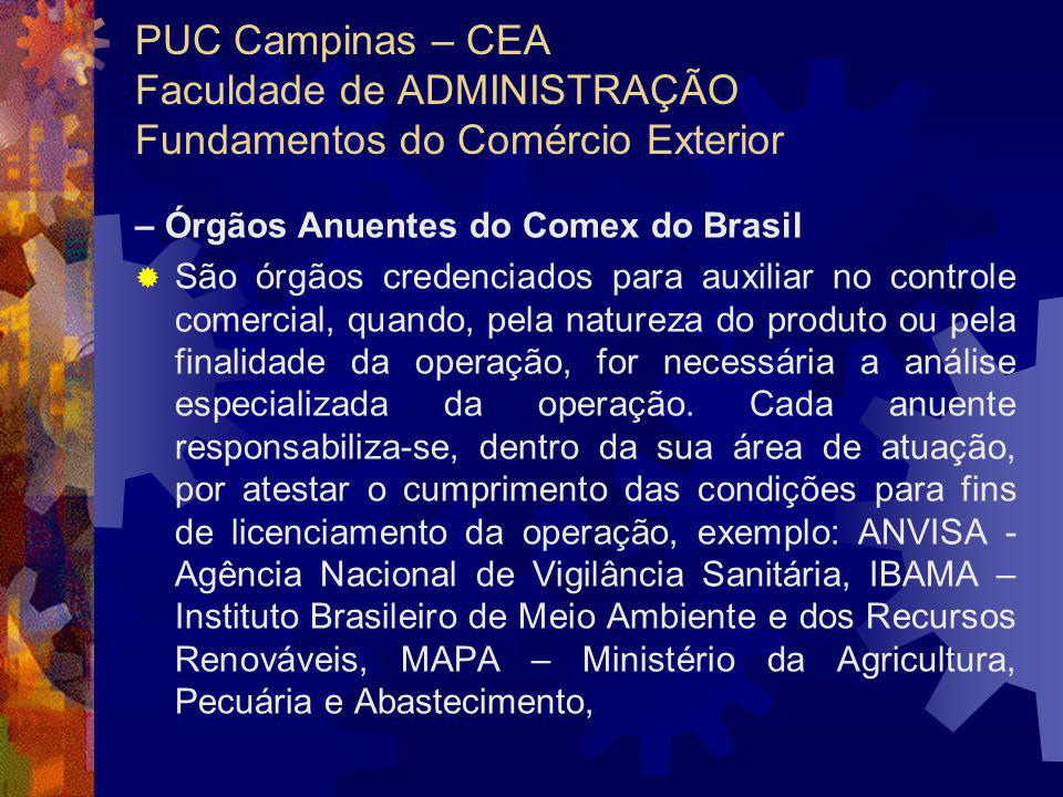 PUC Campinas – CEA Faculdade de ADMINISTRAÇÃO Fundamentos do Comércio Exterior
