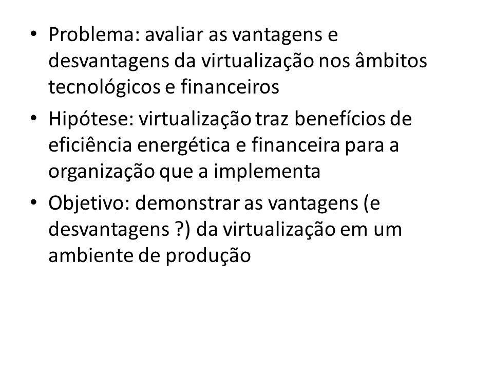 Problema: avaliar as vantagens e desvantagens da virtualização nos âmbitos tecnológicos e financeiros