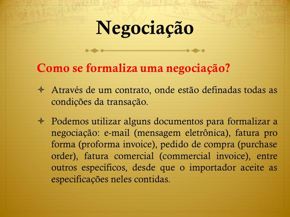 Negociação Como se formaliza uma negociação