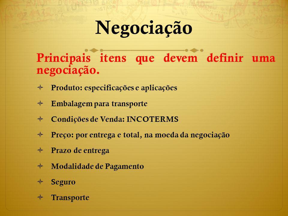 Negociação Principais itens que devem definir uma negociação.